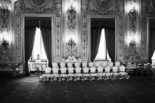"The empty seats of the 21 ministers appointed by the new Prime Minister of Italy Enrico Letta are here before the swearing ceremony of their new government, supported by the so-called ""Grand Coalition"" between the right wing People of the Freedom (PdL) of Silvio Berlusconi, the centre-left Democratic Party, and the centric Civic Choice of former Prime Minister Mario Monti, who all have opposed each other during the campaign leading up to the February 2013 general elections, here at the Quirinale, the presidential palace, in Rome, Italy, on April 28th 2013. After a two-month long post-election deadlock the 87-years old President of the Republic Giorgio Napolitano, who was re-elected a week earlier on April 20th for a second term after 7 years in office, invited the vice-secretary of the Democratic Party Enrico Letta on April 24th to form a new government."