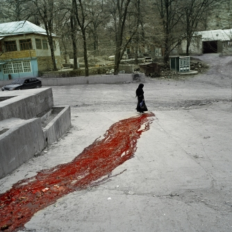 """Republic of Dagestan, Russia 2009. In the village of Gimri during the sacrifice of a bull. Between 2nd and 5th of January 2006 in the village which was also the native village of """"Imam Shamil"""", was put into a ferocious offensive of 3000 the Russian government forces against a group of 30 armed rebels, following the attempted murder of Assistant Commissioner of Ministry of Interior. The village has been blocked by federal forces until the end of 2008 and have been numerous cases of abuse, torture and violation of human rights in the village."""